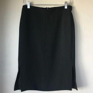 J. CREW Elastic Waist Slit Black Pencil Skirt Sz 2